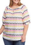 Plus Size Color Crush Elbow Sleeve Multi Floral Top