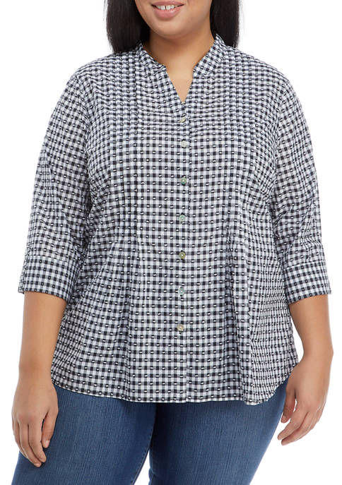 Plus Size 3/4 Sleeve Clip Dot Gingham Top