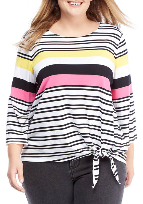Plus Size Color Crush 3/4 Sleeve Striped Top