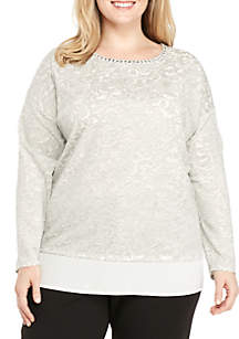 Plus Size Shimmer and Shine Embellished Scoop Neck Knit Top