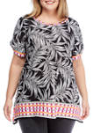 Plus Size Color Crush Fiesta Palm Shirt