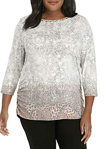 Plus Size Shimmer and Shine Animal Printed Side Ruch Top