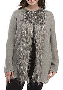 Plus Size Shimmer and Shine Fur Trim Cardigan