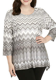 Plus Size Shimmer and Shine Sharkbite Zig-Zag Knit Top