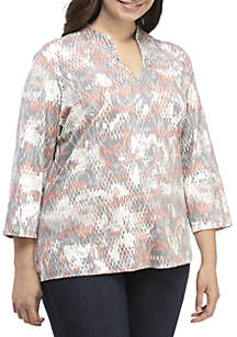 Plus Size Shimmer and Shine Mirage Printed Knit Top
