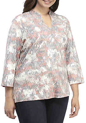399d8bb773e Ruby Rd Plus Size Shimmer and Shine Mirage Printed Knit Top ...