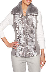 Petite Shimmer and Shine Patchwork Printed Vest with Shearling Trim