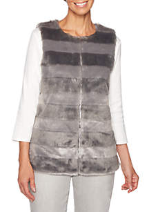 Petite Shimmer amd Shine Striped Fur Vest