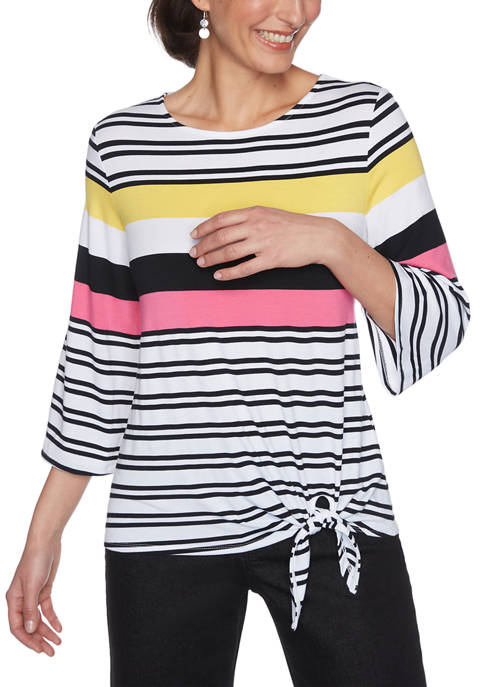 Ruby Rd Petite Color Crush 3/4 Sleeve Stripe