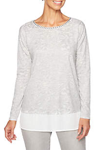 Petite Shimmer and Shine Embellished Scoop Neck Knit Top