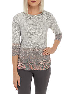 Petite Shimmer and Shine Side Ruched Animal Print Top
