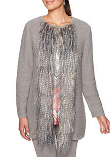 Petite Shimmer and Shine Fur Trim Cardigan