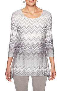 Petite Shimmer and Shine Sharkbite Zig Zag Knit Top