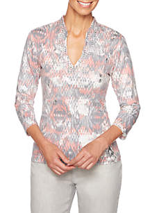 Petite Shimmer and Shine Mirage Printed Knit Top