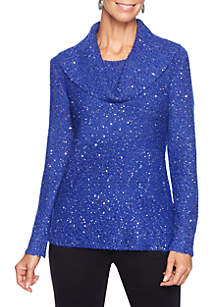 Cowl Neck Sequins Pullover Sweater