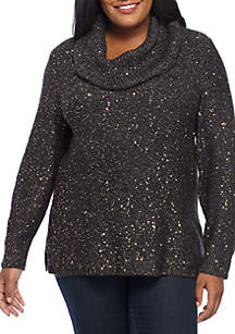 Plus Size Cowl Neck Sequins Pullover Sweater