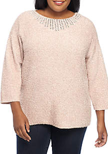 Plus Size Embellished Neck Pullover Sweater