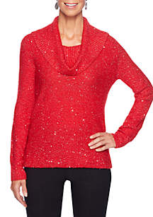 Ruby Rd Petite Cowl Neck Sequins Pullover Sweater