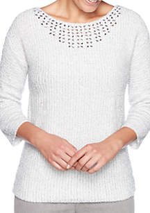 Petite Embellished Neck Pullover Sweater