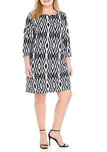 Plus Size Must Haves Ikat Side Ruched Dress