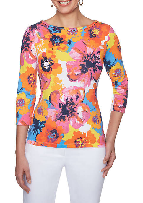 Ruby Rd Petite Warm Bloom Boat Neck Blouse