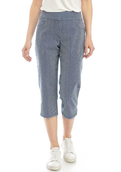 Womens Pull On Yarn Dye Stripe Denim Capri Pants