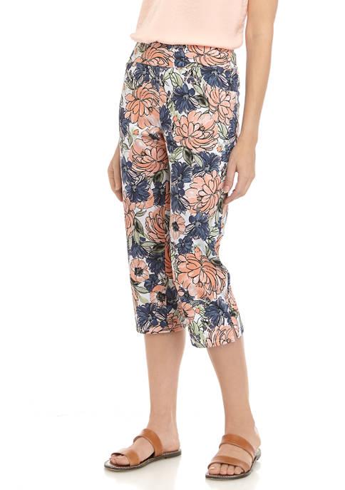 Womens Pull On Brushstroke Floral Capri Pants