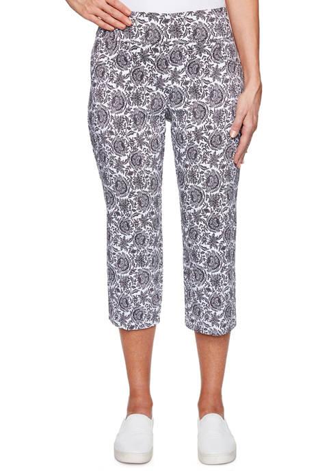 Womens Pull On Tapestry Print Capri Pants