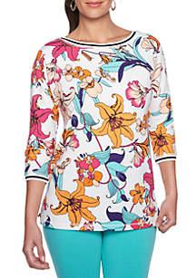 Tropical Twist Floral Print Top