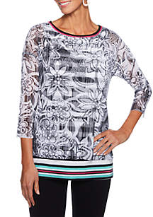 Petite Size Tropical Twist Floral Mesh Overlay Stripe Top