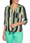Womens Tropical Getaway 2020 Tie Front Striped Woven Top