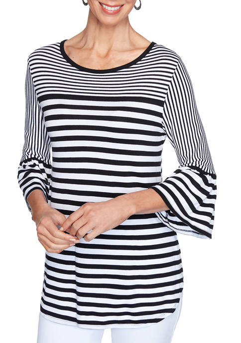 Womens Tropical Getaway Bell Sleeve Yarn Dye Stripe Top