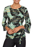 Womens Tropical Getaway 2020 Palm Print Side Tie Knit Top