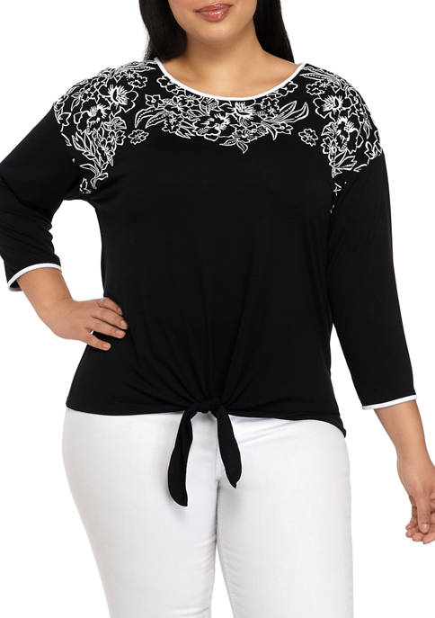 Ruby Rd Plus Size Puff Print Tie Front