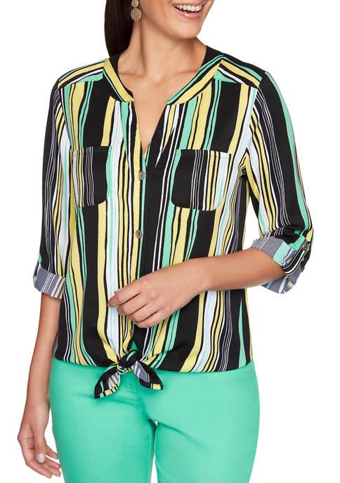 Petite Stripe Tie Front Split Neck Shirt
