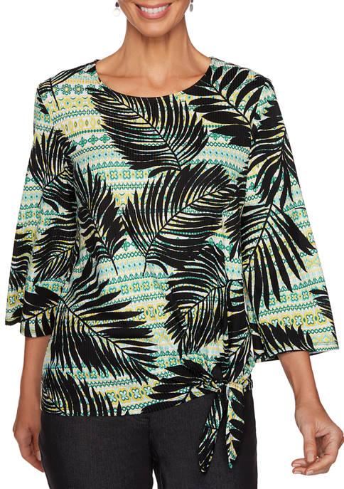 Ruby Rd Petite Palm Leaf Stripe Ribbed Side