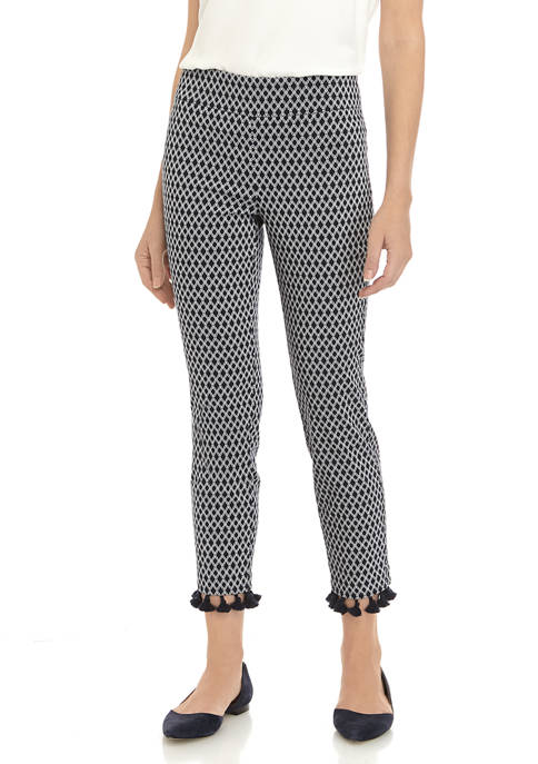 Womens Pull On Printed Twill Pants
