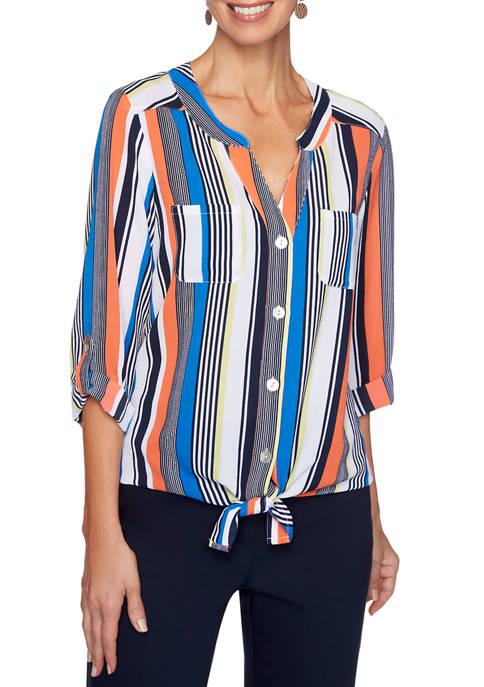 Womens Bright Idea Tie Front Woven Top