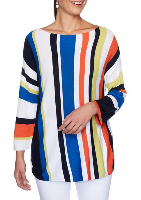 Womens Bright Idea Boat Neck Stripe Sweater