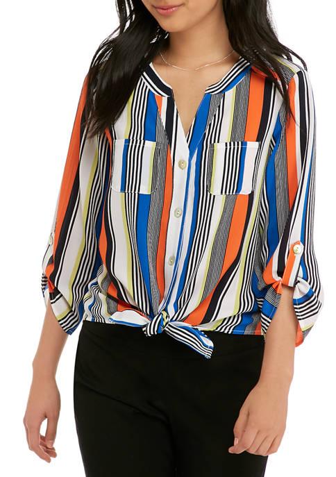 Petite Roll Tab Stripe Tie Front Blouse