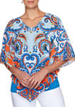 Petite Bright Idea Paisley Woven Butterfly Top