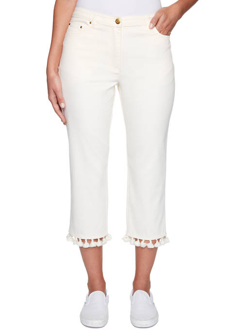 Womens Sand & Sea Soft Stretch Denim Capri Pants with Tassel