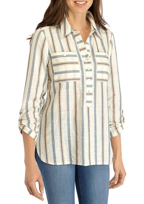 Womens Short Sleeve Yarn Dye Slub Shirt