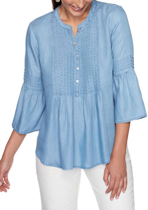 Womens Sand & Sea Light Weight Lyocell® 3/4 Sleeve Top