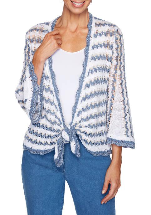 Womens Sand & Sea Pointelle Stripe Tie Front Sweater