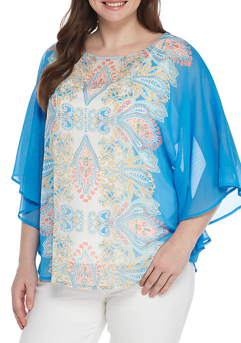 Ruby Rd Je Taime Print Butterfly Blouse