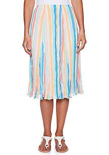 Petite Size Je T'aime Mid Length Stripe Skirt