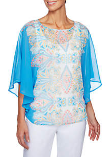 Petite Size Je T'aime Printed Butterfly Blouse
