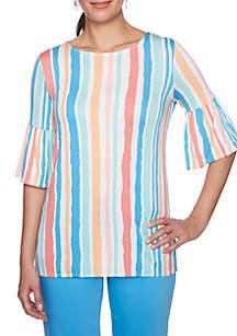 Petite Je T'aime Stripe Double Ruffle Sleeve Top