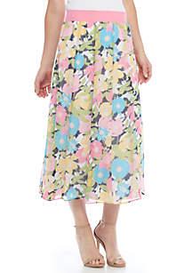 Petite Spring Breeze Carnation Print Skirt